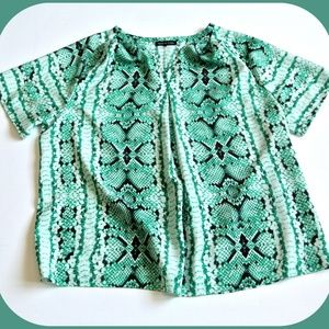Violet & Claire Sheer Green Snake Print Blouse